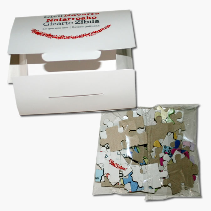 Promotional puzzles in a bag